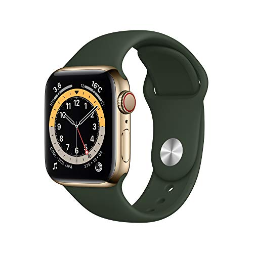 最新 Apple Watch Series 6(GPS + Cellularモデル)- 40mmゴールドステンレススチールケースとキプロスグリーンスポーツバンド
