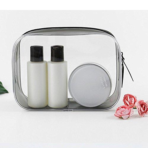 Bolsa de viaje de maquillaje de PVC transparente con cremallera para equipaje de viaje, bolsa de lavado portátil multifunción para hombres y mujeres