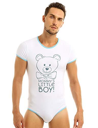CHICTRY Männer Body Kurzarm Baumwolle Unterhemd Tank Top Bodysuit Overalls Erotik Dessous Reizwäsche Slip Romper Bodysuit Pyjamas Nachthemd mit Bär Muster Blau X-Large