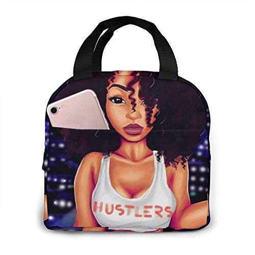 Matthzhang Lunch Bag Black Girl African American Girl Love Sports Insulated Lunch Tote Boxes Cooler Bag For Adults Men Women Kids Boys Nurses Teens