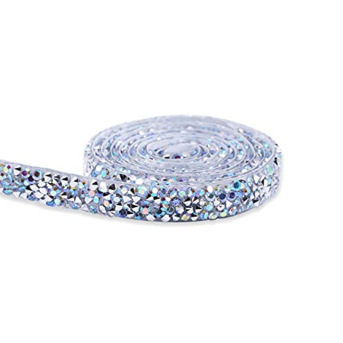 Betos Cinta de cristal de la tira de la cinta del Rhinestone de la etiqueta engomada del diamante autoadhesivo del rollo de los appliques para los vestidos