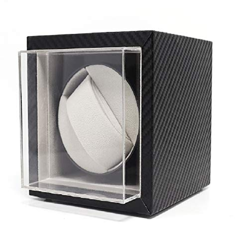 Automatic Single Watch Winder in Black Leather with Quiet Japanese Motor, Adjustable Watch Pillows, Fit Lady and Man Automatic Watch