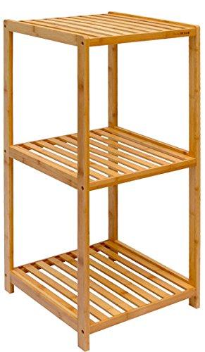 DuneDesign Scaffale di bambù 3 Ripiani 38x39,5x83cm mobiletto Aperto con doghe di Legno Arredamento Bagno