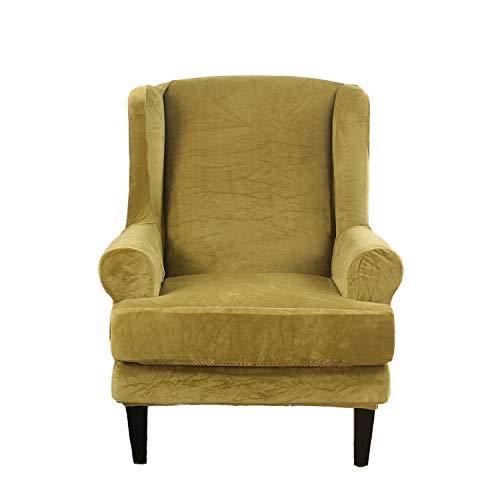 Samt Sesselbezug, Sessel-Überwürfe Ohrensessel Überzug Bezug Sesselhusse Elastisch Stretch Husse Für Ohrensessel (Grün)