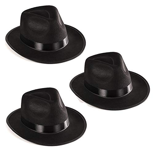 Funny Party Hats Black Fedora Gangster Hat Costume Accessory - Pack of 3