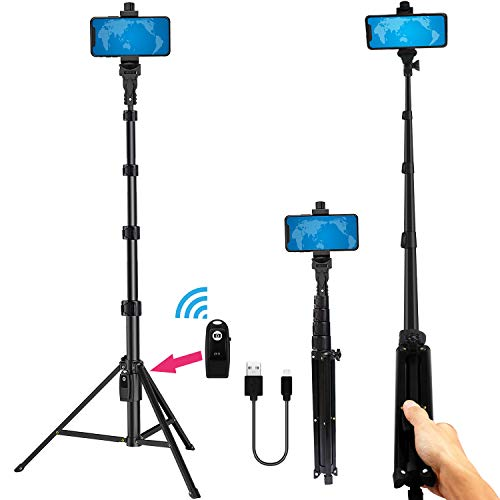 Selfie Stick Tripod 54 Inch Portable Aluminum Alloy Phone Tripod with Wireless Remote Shutter for iPhone Tripod 11 pro Xs Max Xr X 8 7 6 Plus, Android Samsung Galaxy S9 Note8 Smartphone