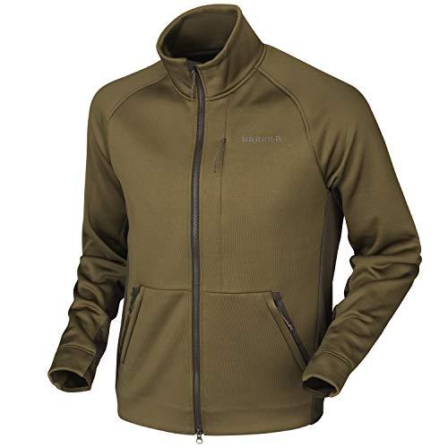 Harkila Borr Hybrid fleecejack met Polartec® Power Stretch®-materiaal voor heren in bruin en groen - jachtjas stretch lange mouwen sneldrogend voor jagers