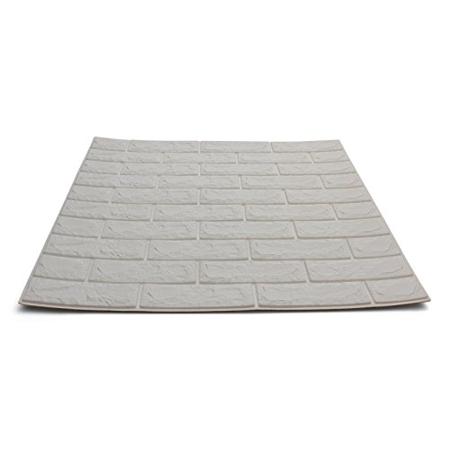 Craft Faux Brick Wall Panels - Peel and Stick Foam Brick - 3D Wall Panels for Fake Brick Wall - Self Adhesive Brick Wall Panels - 3D Brick Wallpaper (10 pack, White)
