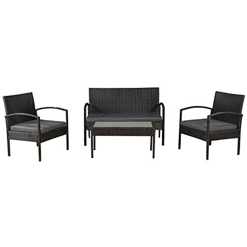 ArtLife Polyrattan Sitzgruppe Trinidad - Gartenmöbel Set mit Bank, Sessel & Tisch für 4 Personen - schwarz mit grauen Bezüge - Terrassenmöbel...
