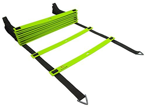 Wacces Adjustable Agility Ladder for Soccer, Speed, Football, Fitness with Carry Bag (8 Rungs - Green)