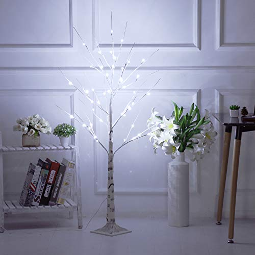 Bolylight Birch Tree 4ft 48L LED Lighted Brich Tree for Christmas Decorations for Home Bedroom Party Wedding Office Indoor and Outdoor White
