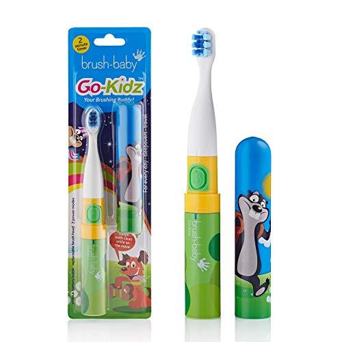 Brosse à dents électrique | Étape 3-Enfants | 3+ ans | Vibrations douces, minuterie de 2 min et couvercle de tête de brosse (Green)