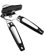 CYWVYNYT Abrelatas de seguridad de acero inoxidable, borde liso, abridor manual de tapas con mango antideslizante y botón giratorio ergonómico para personas mayores con artritis (19 x 5,5 x 5 cm)
