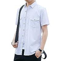 シャツ メンズ 半袖 無地 夏 綿100% 胸ポケット付き 通気 ボタンダウンシャツ カジュアルシャツ ワイシャツ ショート丈 オックスシャツ カラーシャツ ゆったり カジュアル 通勤 快適 大きいサイズ おしゃれ