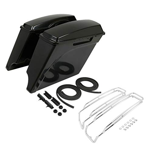 Amazing Deal TCMT 5 Unpainted Saddlebags Chrome Lid Top Rails Guards Fit For Harley Touring 1994-20...