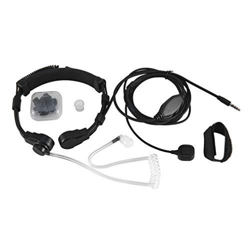 bansd Micrófono de Garganta de 3,5 mm Micrófono de Tubo acústico Oculto Auriculares de Dedo PTT Teléfono móvil Negro