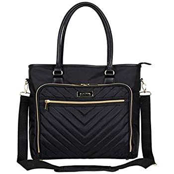 Kenneth Cole Reaction Chelsea Quilted Chevron 15  Laptop & Tablet Business Tote With Removeable Shoulder Strap Black