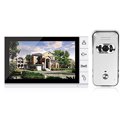 OWSOO Sonnette Vidéo,9 Pouces LCD Couleur Vidéo Porte Interphone Système Visiophone Intercom avec Vision Nocturne Kit de Caméra IR Vision Nocturne Caméra Porte Bell pour Appartement Maison