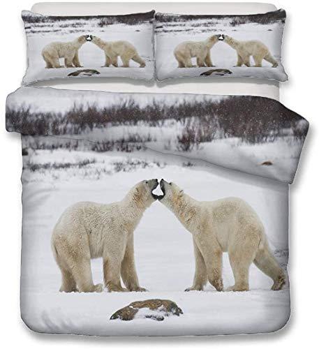 XWXBB set beddengoed wit ijs Noorden Pole 3D Beer Beddengoed Set met kussensloop, sneeuw bos rivier grappige beer dekbedovertrek set microvezel polyester non-ijzer