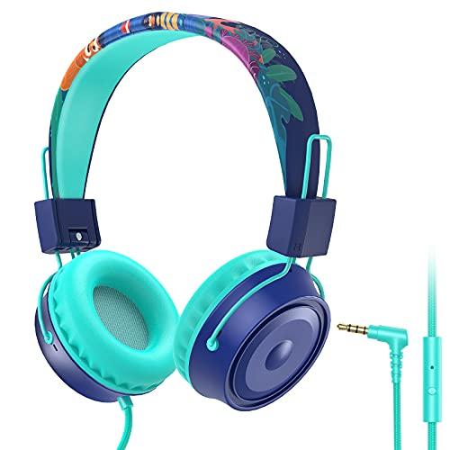 BlueFire Auriculares infantiles ajustables con limitación de volumen de 85 dB, cable jack de 3,5 mm, auriculares plegables para niños, auriculares para teléfono móvil, PC, tablet, azul