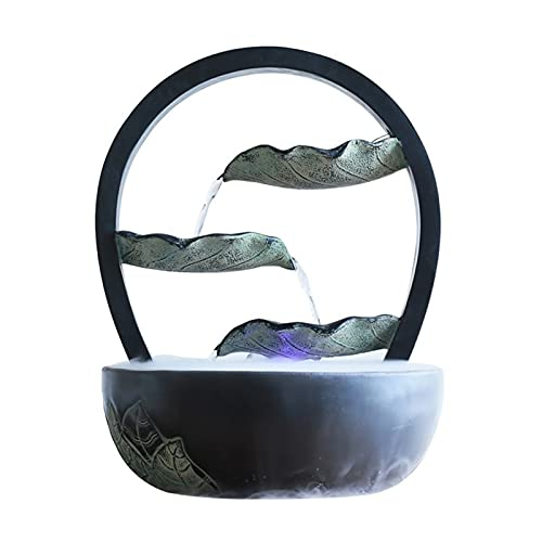 WFS Fuente de Interior Fuente de Agua de Escritorio Feng Shui Cascada Paisaje Decoración Fish Tank Decoración de la Oficina Sala de Estar Fuentes Decorativas