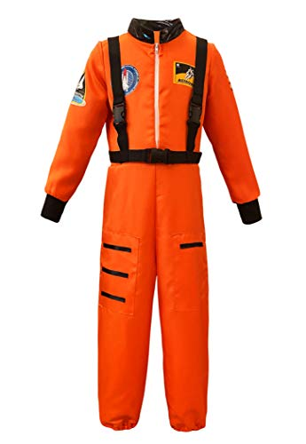 Unisex Kids Astronaut Role Play Halloween Costume Boys Girls Dress Up (3-4T, Orange)
