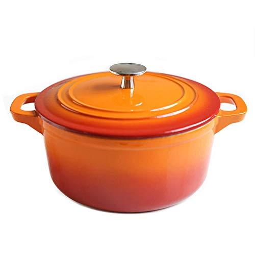 AGGF Pentola Smaltata Arancione Sfumata Casseruola in ghisa Pentola per zuppa da 20 cm Casseruola da 2,8 Litri