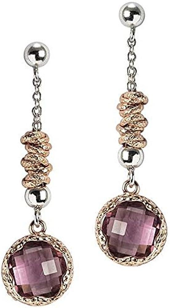 Boccadamo,orecchini per donna,in bronzo rodiato con cristallo color ametista su castone martellato placcato or Xor290Ars