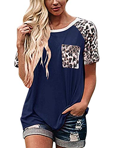 Dames Casual T-Shirt O Neck Blouses Losse Basic Luipaard Print Zomer Tuniek Tops