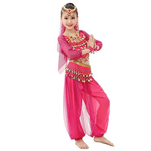 Lvguang Top de Danza del Vientre y Pantalones de Baile para Niñas y Cadena de Cintura y Cadena de Cabeza y Velo y Pulsera de Cuentas y Collar y Arete