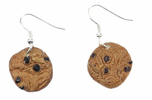 Miniblings Keks Kekse Ohrringe Schokostückchen Plätzchen Chocolate Chips braun - Handmade Modeschmuck I Ohrhänger Ohrschmuck versilbert