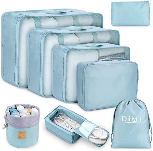 Packing Cubes for Travel 8Pcs Travel Cubes Set Foldable Suitcase Organizer Lightweight Luggage Storage Bag Blue