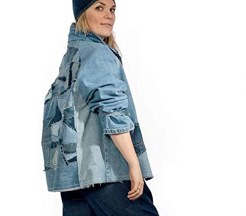 Upcycling Jeansjacke Denimjacke Jacke für Damen Gr. 40