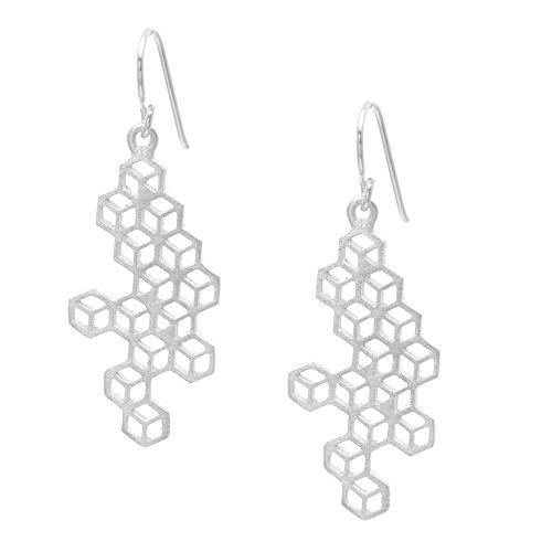 Silverly Frauen .925 Sterling Silber Satin Fertig Molekül-Struktur Platz baumeln Ohrringe