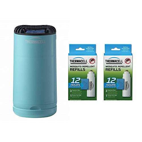 Thermacell Outdoor Insect Repeller, Blue Bundle with 12-Hour Mosquito Repellent Refill (2 Pack)