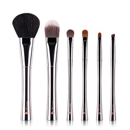 6 Pièces Professionnel Artificielle Fibre Pinceau de Maquillage Portable Noir Placage Sac de Rangement Noir