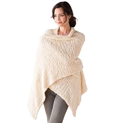 DEMDACO Giving Shawl Women's One Size Soft Knit Nylon Wrap in Gift Box, Cream