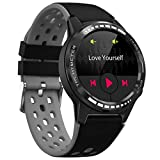 "Bluetooth Smart Watch with Message Notification, 1.3"" Full Touch Screen Smartwatch IP67 Waterproof Fitness Tracker Watch with Heart Rate/Sleep Monitor GPS Pedometer Stopwatch for Kids Men Women,Black"