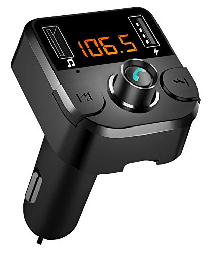 AZWang Bluetooth FM Transmitter for Car, BT 5.0 Bluetooth Car Adapter Music Player Car Kit,Hands Free Calling with 2 USB Ports Charger,Support U Disk/TF Card Gifts