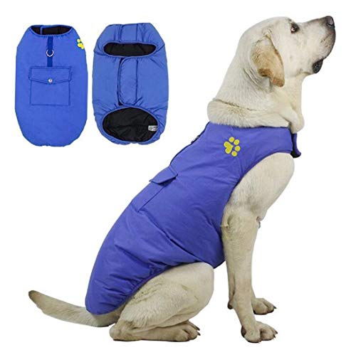 DaiShuGuaiGuai Warmer Hundemantel/Reversibel/wasserdichte Winterjacke mit D-Ring/Hundejacke/Puffer Weste/ 6 Farbe und 5 Größe (L (Brustumfang: 45CM), Blau)