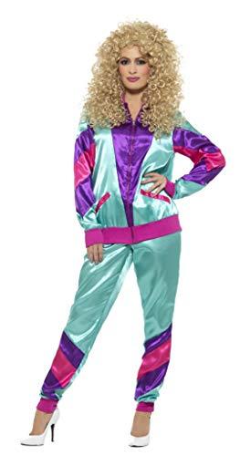 Smiffy's - Dames jaren 80 Fashion Shell kostuum, jas en broek, meerkleurig Large Groen & paars.