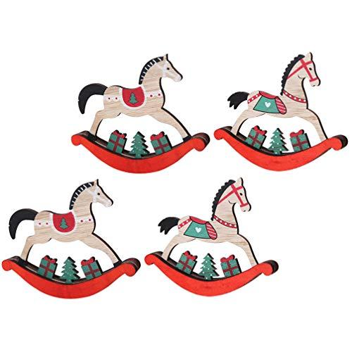 TOYANDONA, 4 pezzi di legno cavallo a dondolo ornamentali di Natale, pony a dondolo in miniatura, Natale, decorazione da tavolo, feste, regali