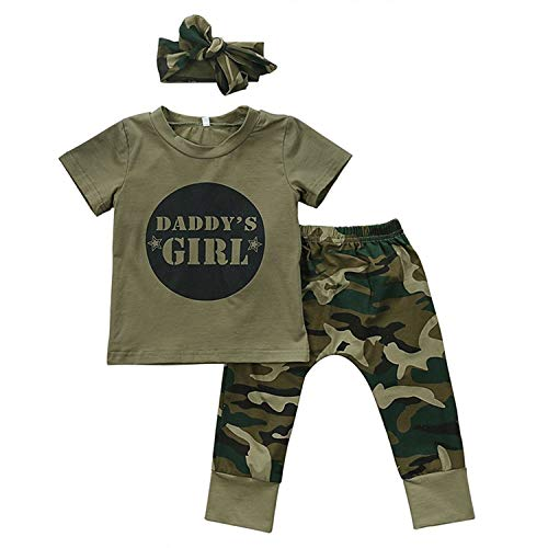 GRNSHTS Baby Kids Family Matching Clothes Set Camouflage Short Sleeve T-Shirt Tops Long Pants Set(70/0-6 Months, Daddy's Girls)