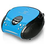 Lenco Radio CD-Player SCD-24 tragbares Stereo UKW-Radio mit CD-Player und Teleskopantenne in blau/schwarz