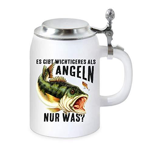 KMC-Austria - Boccale da birra con coperchio piatto, per il pescatore