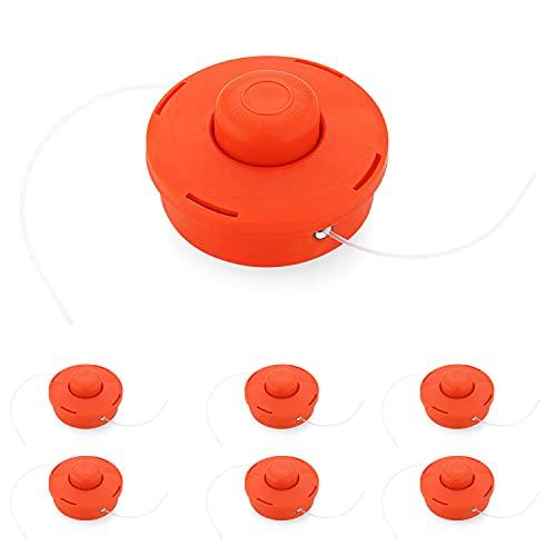 SWAWIS 6x Cabezal Desbrozadora Universal M10 x 1,25 Compatible Hilo Cabezal Automático Bobina Doble Hilo Cabezal Red Plastic Hilo Spool Nylon Cord Accesorios para Desbrozadora Gasolina