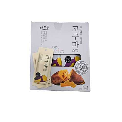 NATURE IT Baked Dried Sweet Potato Stick 고구마말랭이 스틱 Korean Snack Portable Sweet Chewy Nutritional 200g (20g/0.7oz. x 10Packs)