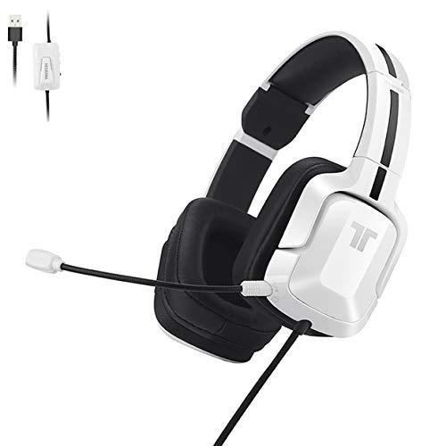 TRITTON – Casque Gaming Kunai Pro – Blanc – Son Surround 7.1 – Haut-parleurs néodymes – Micro flexible amovible – Commande filaire déportée (fonctions volume, mute, 7.1) – Compatible PS4, PC, MAC