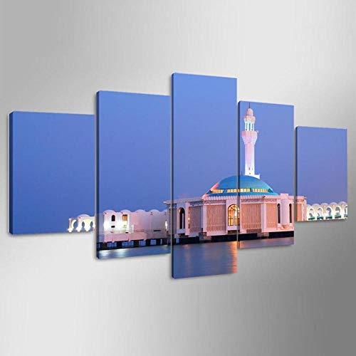 rkmaster-Wohnkultur plakfolie voor de woonkamer, 5 stuks, seascape, moskee, modern schilderij op canvas, muurschildering, kunst, afbeelding, Hd Print