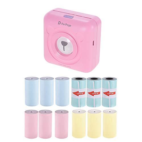 Aibecy PeriPage Mini Handydrucker Fotodrucker BT Thermodrucker Bildetikett Memo Drucker + 9 Rollen Farb Thermopapier + 3 Rollen Selbstklebendes Aufkleberpapier 57 * 30mm(pink)